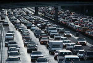 Traffic on Los Angeles Motorway